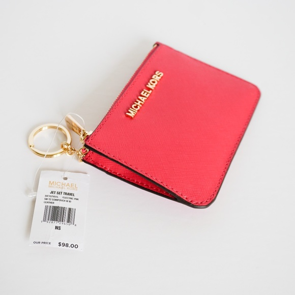 Michael Kors Handbags - Michael Kors Jet Set SM Coin Pouch Key Holder Pink